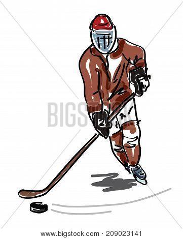 Illustration of a Man playing hockey - vector illustration