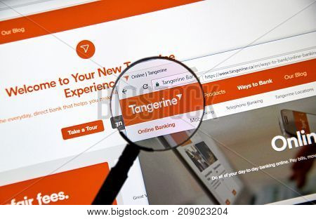 MONTREAL CANADA - OCTOBER 12 2017: Web page of Canadian Tangerine Bank. Tangerine Bank operating as Tangerine is a Canadian direct bank and a subsidiary of Scotiabank