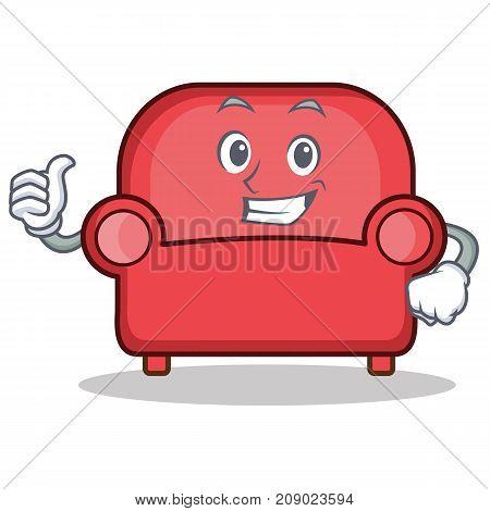 Thumbs up red sofa character cartoon vector illustration