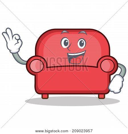 Okay red sofa character cartoon vector illustration