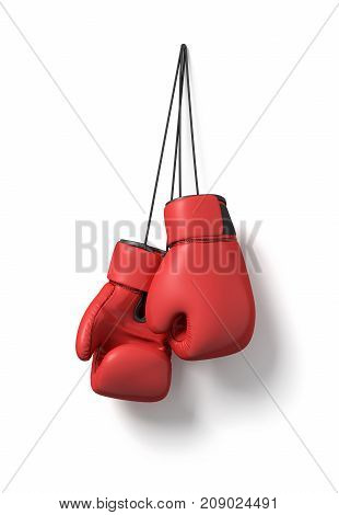 3d rendering of two red boxing gloves hanging on a long black string on a white background. Boxing gear. Fighting sports. Martial arts.