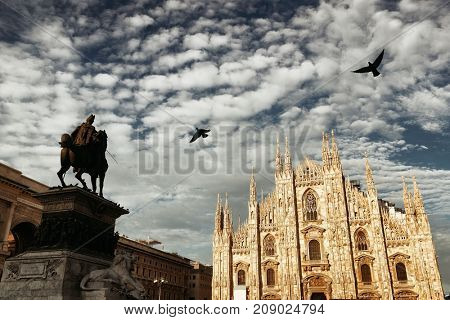 Monument to King Victor Emmanuel II in Cathedral Square or Piazza del Duomo in Italian in Milan in Italy.