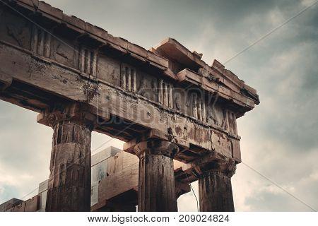 The Parthenon temple closeup in Acropolis in Athens, Greece.