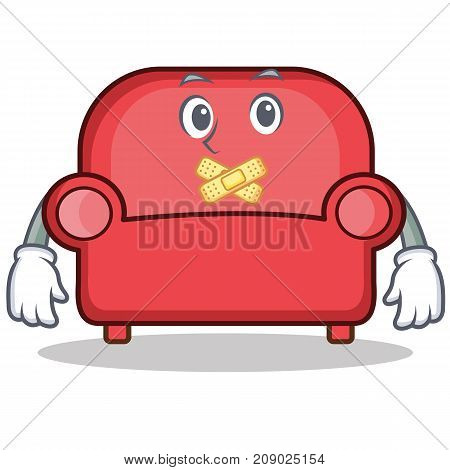 Silent red sofa character cartoon vector illustration