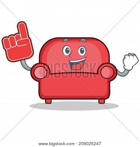 Foam finger red sofa character cartoon vector illustration