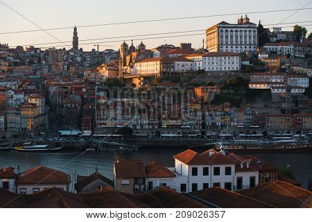 Douro river and Ribeira from Vila Nova de Gaia, Porto, Portugal.