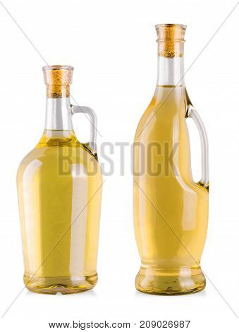 bottles with white wine in a white background