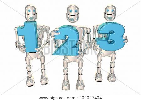123 Easy Simple Steps Process System Robot Numbers 3d Illustration
