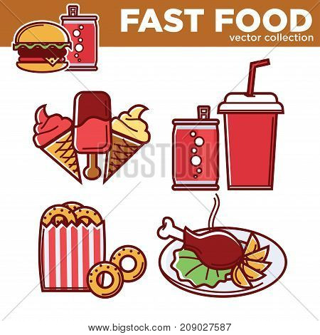 Fast food vector collection of sweet and salty dishes isolated cartoon flat vector illustrations set on white background. Fruity ice cream, soda in cup and can, crispy onion rings and fried chicken.