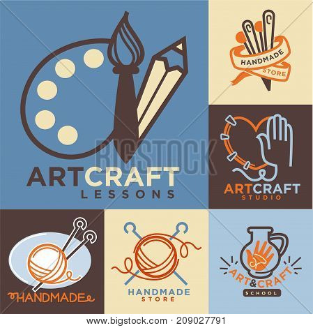 Handmade workshop logo badges with pictures isolated on white. Vector colorful illustration in flat design of labels with roll of thread and sticks, sewing needles, paints with brush and pencil