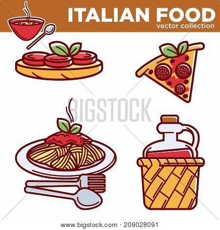 Italian cuisine food traditional dishes of pizza, pasta tomato or meat and fish dish, cake dessert and coffee cup drink or wine bottle. Vector flat icons set for Italy restaurant menu template