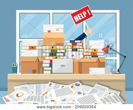 Stressed businessman in pile of office papers and documents with help sign. Stress at work. Overworked. File folders. Carton boxes. Vector illustration in flat style