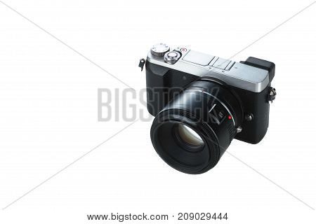 new compact camera isolated with white background