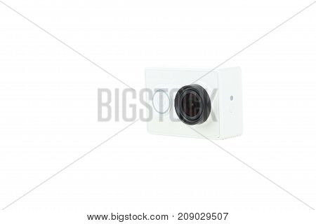 new action camera isolated with white background