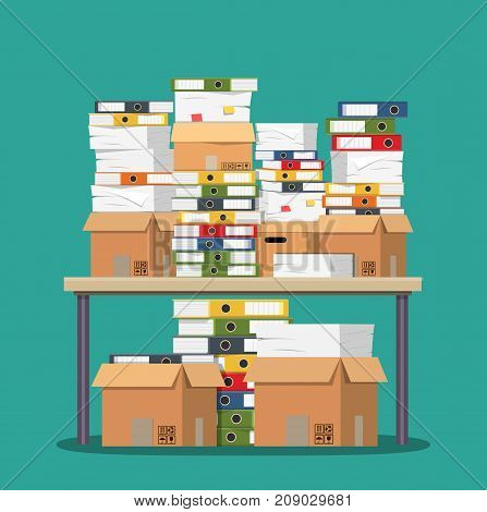 Pile of paper documents and file folders on table. Pile of papers. Office documents heap. Routine, bureaucracy, big data, paperwork, office. Vector illustration in flat style