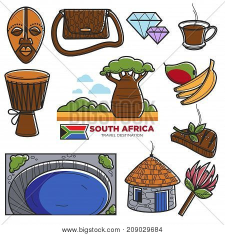 South Africa travel tourism symbols and famous culture landmarks or attraction. African flag, food and drink or national architecture, tribal mask or baobab and music instrument. Vector isolated icons