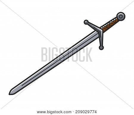Ancient sword made of solid steel with carved handle isolated cartoon flat vector illustration on white background. Old weapon composed of long thin piece of sharp metal with convenient grip.