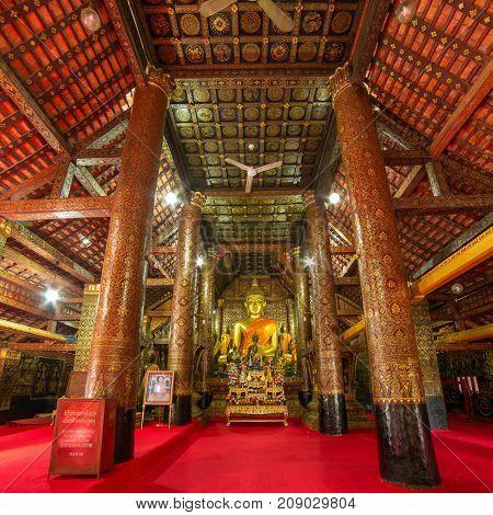 Luang Prabang, Laos - January 24, 2017: Inside of  Wat Xieng Thong temple, Luang Prabang, Laos