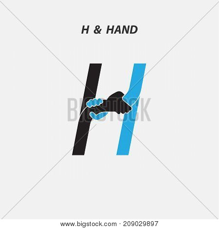 H - Letter abstract icon & hands logo design vector template.Italic style.Business offer or partnership symbol.Hope or help concept. Support and  teamwork sign.Corporate business & education logotype symbol.Vector illustration