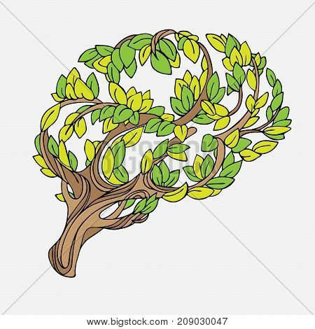 Healthy brain vector concept illustration. Tree and leaves in form of brain. Hand draw helthy conceptual brain illustration isolated on white background