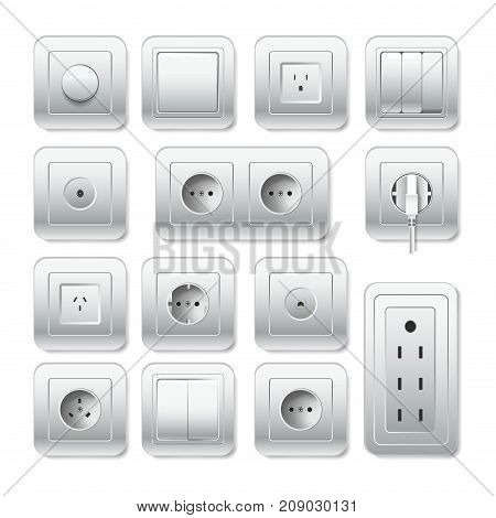Sockets types or electric outlet for plug. Vector 3D isolated realistic socket and light switch or cable input with different connection inlet for phone, tv or internet