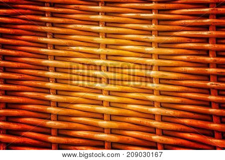 Pattern Nature For Background Of Handicraft Weave Texture Wicker Surface. Darker From The Centre