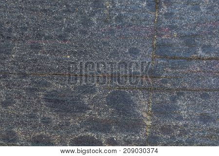 Rustic Wood Texture And Cracks On The Surface As Background. Dusty With A Stains From Rain Drops