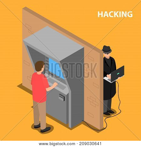 The thief hacks the software and the payment terminal system. Vector isometric illustration.
