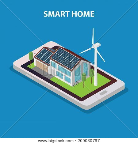 Eco friendly modern smart house. Vector isometric illustration.