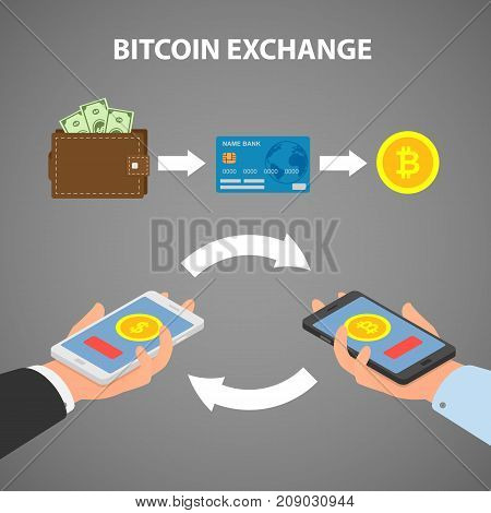 Design concept of cryptocurrency technology, bitcoin exchange, mobile banking. Vector illustration in a flat and isometric style.