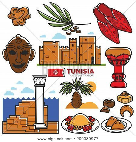 Tunisia travel landmark symbols or tourist culture attractions or sightseeings. Tunisian flag and Tunis ancient architecture building, national food and drink. Vector isolated icons