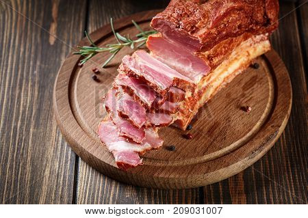 Smoked Bacon With Chopped Slices, Ready To Prepare A Traditional Breakfast With Eggs