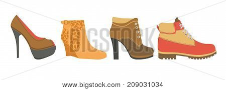 Female shoes on high heel, firm platform and flat sole isolated cartoon vector illustrations on white background. Elegant feminine footwear for cool seasons made of natural suede and leather.