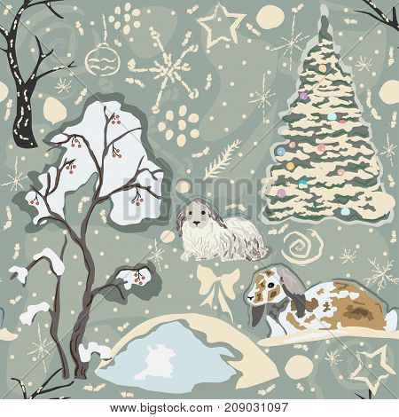 Cute couple of bunnies in frozen forest on a cold but lovely winter day. Creative Colorful Design with pastel colors and funny winter brush doodles. Vector Illustration