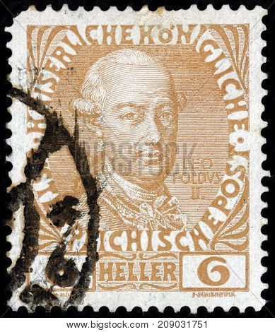 LUGA RUSSIA - OCTOBER 6 2017: A stamp printed by AUSTRIA shows image portrait of Holy Roman Emperor and King of Hungary and Bohemia Leopold II circa 1908
