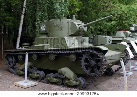 Moscow Russia - July 19 2017: Light tank with a cylindrical tower T-26 sample 1932 (USSR) on grounds of weaponry exhibition in Victory Park at Poklonnaya Hill.