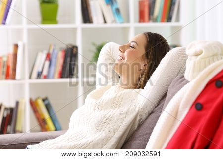 Woman Relaxing At Home In Winter