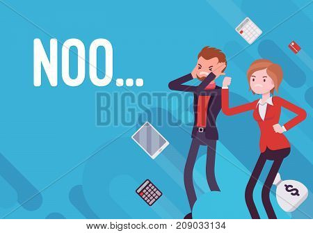 No. Business demotivation poster. Company serious problem, poor results, lack of sales or profit, database loss, ineffective management. Vector flat style cartoon illustration on blue background