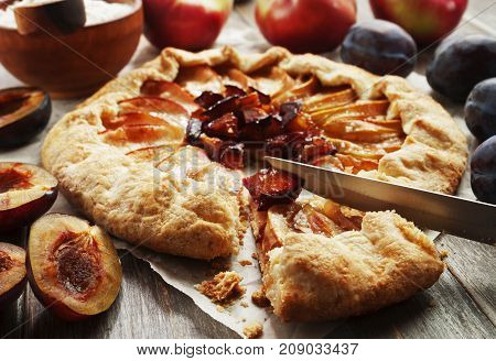 Galette With Apples And Plums