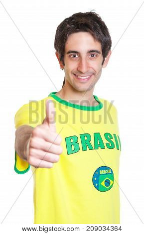 Brazilian man with short black hair showing thumb up on an isolated white background for cut out