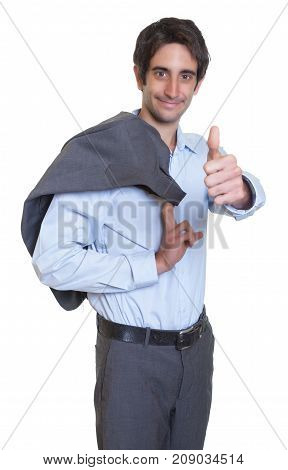 Fashionable latin businessman with suit and short hair showing thumb on an isolated white background for cut out