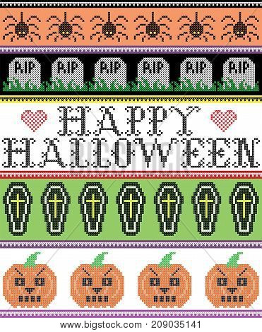 Scandinavian cross stitch and traditional American holiday inspired seamless Happy Halloween pattern with grave, RIP grave, pumpkin, spider decor ornaments in purple, orange, black, yellow, green