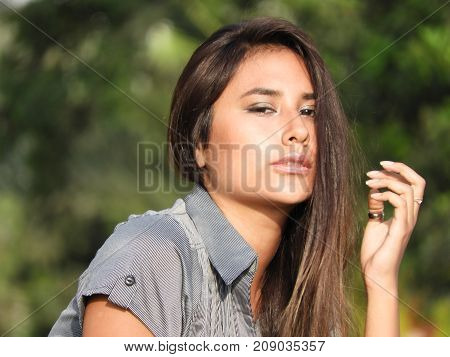 Young Girl Teenager And Anxiety With Long Brunette Hair