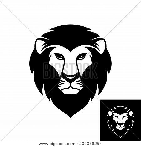 Lion head logo or icon in black and white color. Inversion version included. Stock vector illustration.