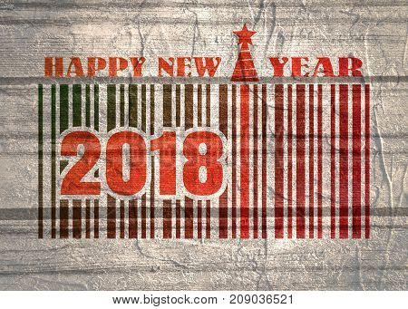 New Year and Christmas celebration card template. Happy New Year text. Bar code with 2018 number. Illustration relative to holiday sales. Grunge wall texture