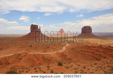 West Mitten Butte, East Mitten Butte and Merrick Butte in Monument Valley. Arizona. USA