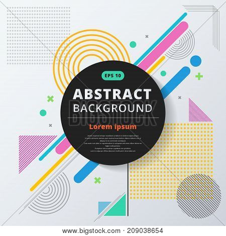 Abstract geometric composition forms modern background with colorful decorative triangles and patterns backdrop vector illustration for print ad magazine