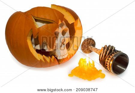 Halloween Ghost Human Skull Comes Out Of A Broken Pumpkin, Scary Goblet Decorated With Bones