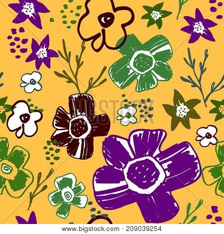 Seamless pattern with cute naive florals . Fashion gentle flower repeating background.