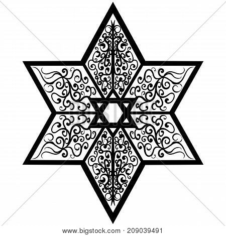 Black and white vector sketch of a tattoo the star of Solomon and the seal of David illustration